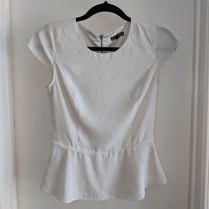 Gently Worn Off-White Express Peplum Top